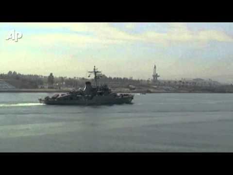 Raw Video: Iranian Ships Sail Suez Canal