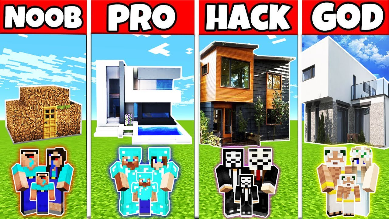 Minecraft: FAMILY EXCELLENT MODERN HOUSE BUILD CHALLENGE - NOOB vs PRO vs HACKER vs GOD