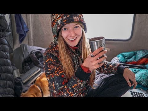 Winter Camping - SNOWSTORM // 13ft Scamp Trailer