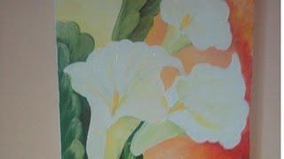 Pintura em Tela com tinta de tecido - Copo de Leite #GrasiArtes