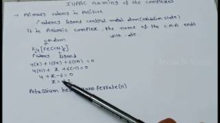 iupac naming of complex compounds | coordination compounds | Arcus N Media Chemistry Tutorials
