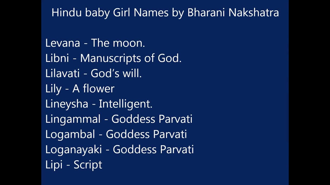 Hindu Baby Girl Names According To Bharani Nakshatra Youtube