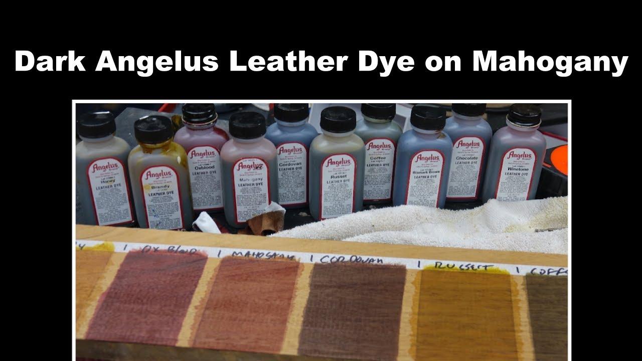 Dark Angelus Leather Dyes on Mahogany