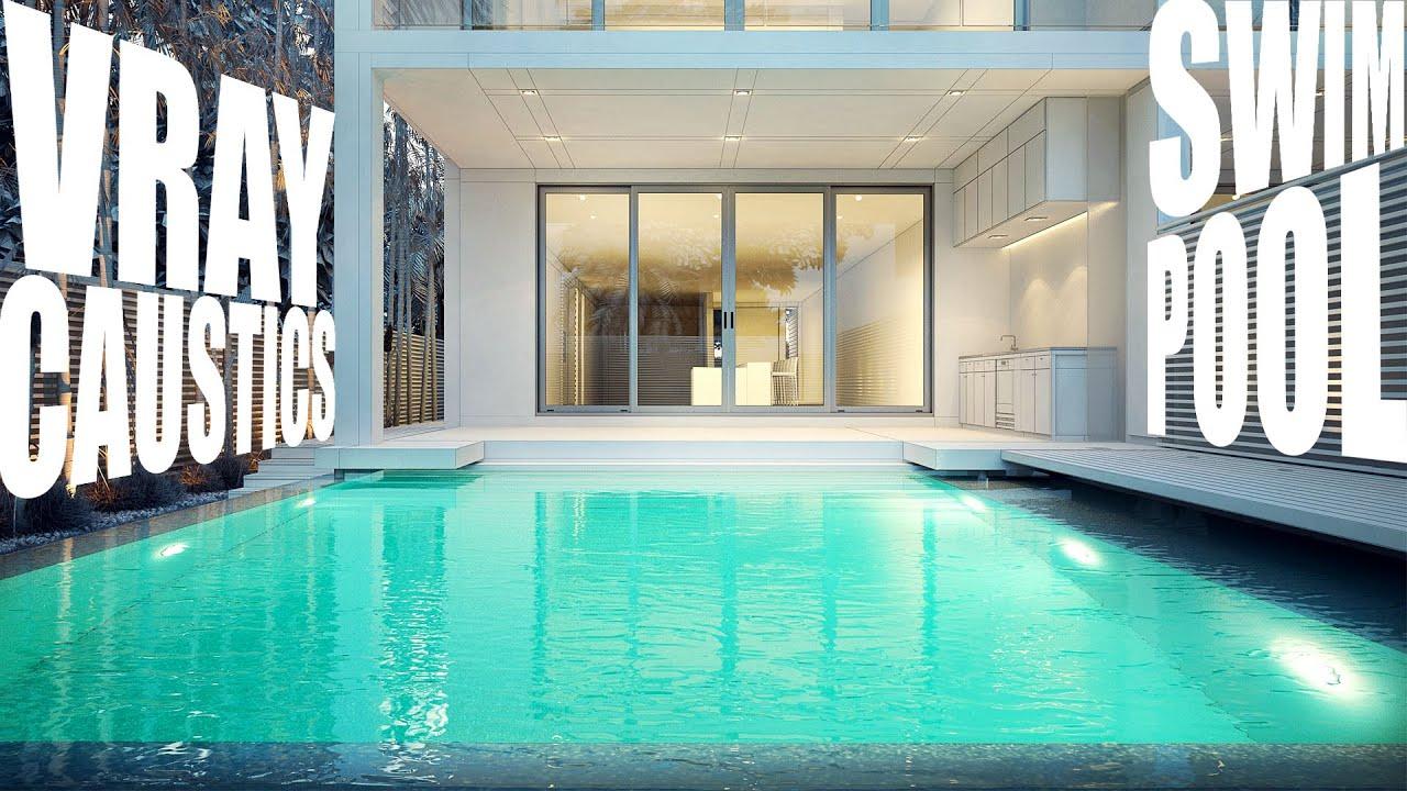vray caustics swim pool render youtube