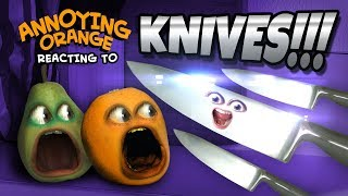 Annoying Orange and Pear React to KNIVES!!!