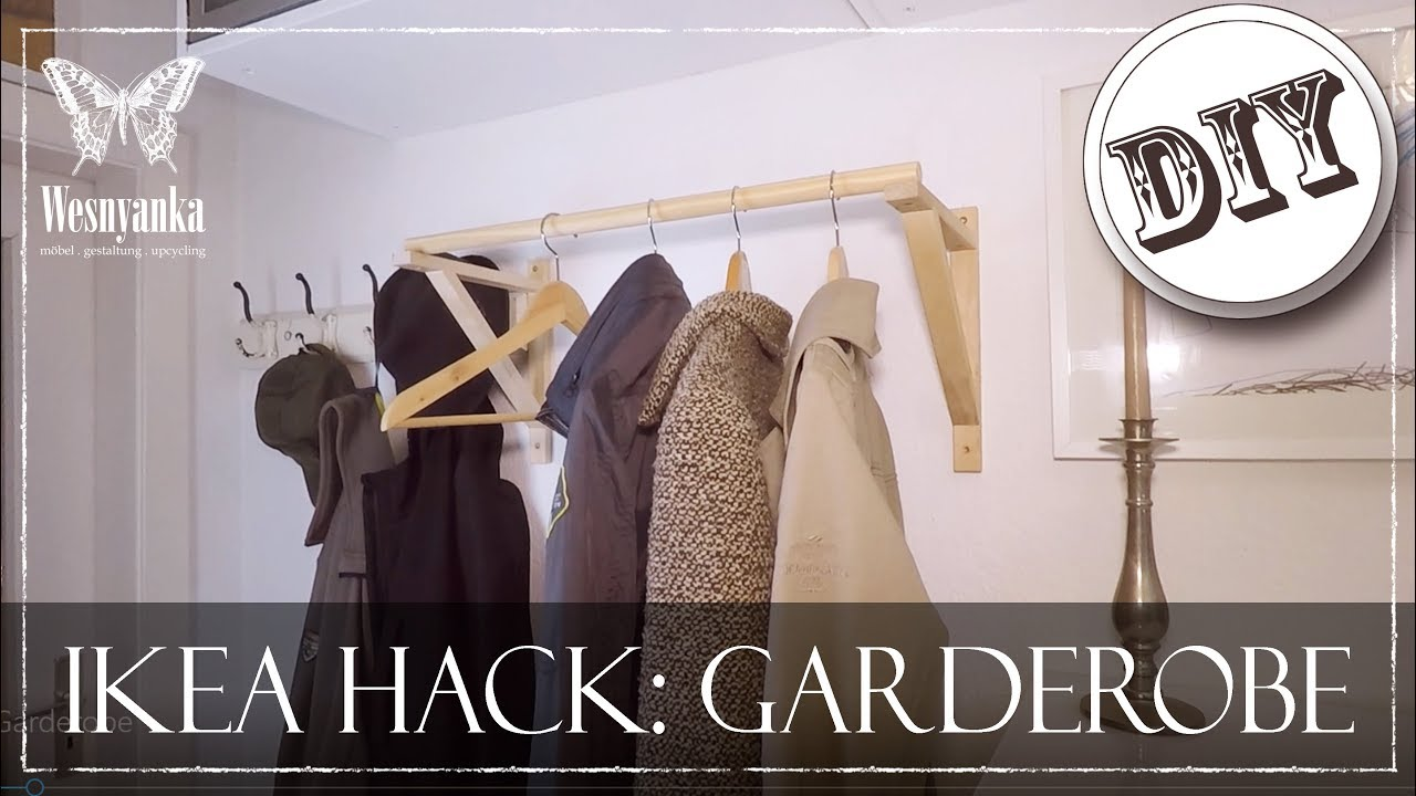 diy ikea hack garderobe f r den flur youtube. Black Bedroom Furniture Sets. Home Design Ideas
