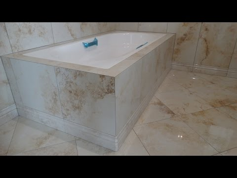 укладка крупноформатного керамогранита в ванной комнате, 1 часть.