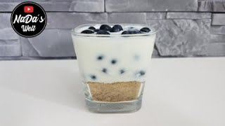 Heidelbeer Joghurt Becher | Dessert mit Heidelbeeren, Joghurt und Honig | NaDas Welt Rezepte