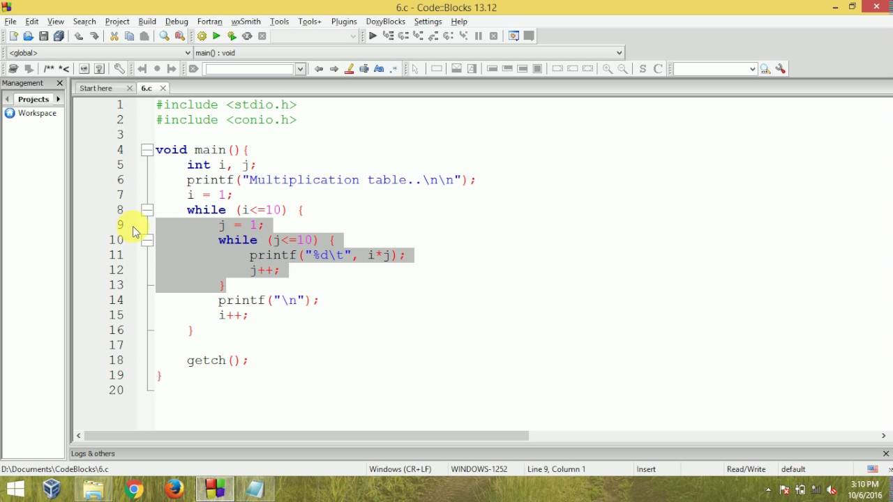 C Programming Multiplication Table Using Nested While Loop Youtube