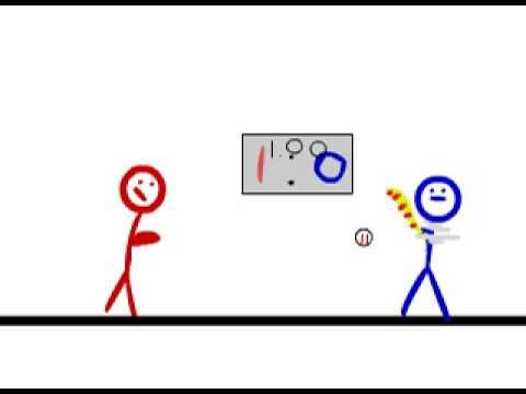 Stickman pitching baseball