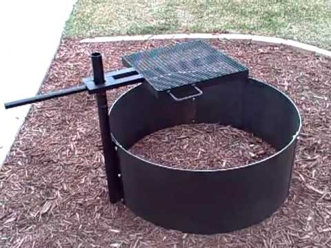 HigleyMetals.com FIRE PIT WITH ADUJUSTABLE GRILL