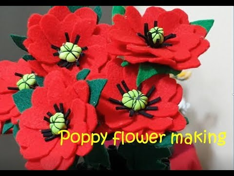 Poppy flower making - Craft Ideas from Deepa hari  (Malayalam Video)
