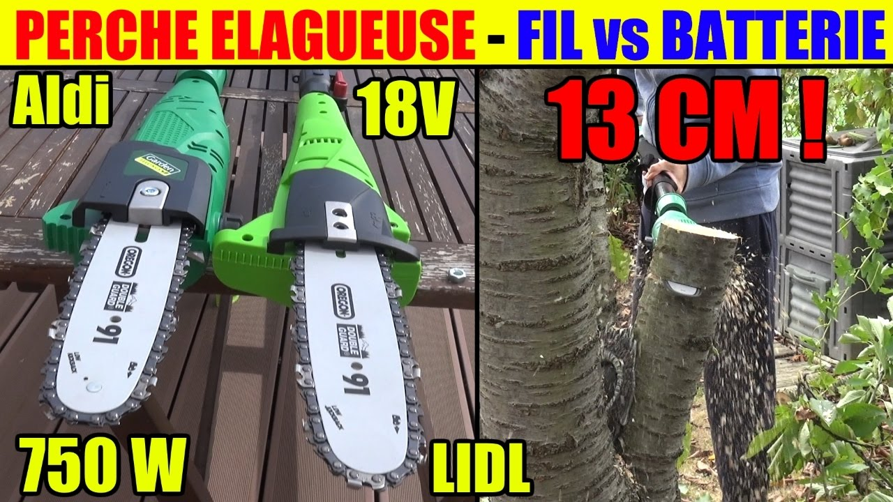 elagueuse sur perche lidl florabest 18v versus aldi garden feelings electrique 750w youtube. Black Bedroom Furniture Sets. Home Design Ideas
