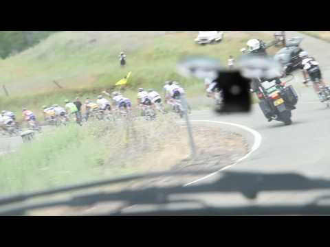 Danny Van Haute drives the Jelly Belly team car in the Amgen Tour of California