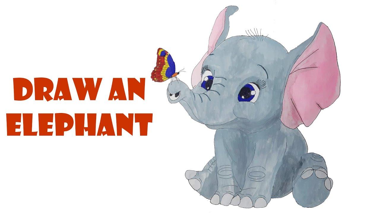 vẽ con voi |vẽ và tô màu con voi |hướng dẫn vẽ con voi | draw an elephant