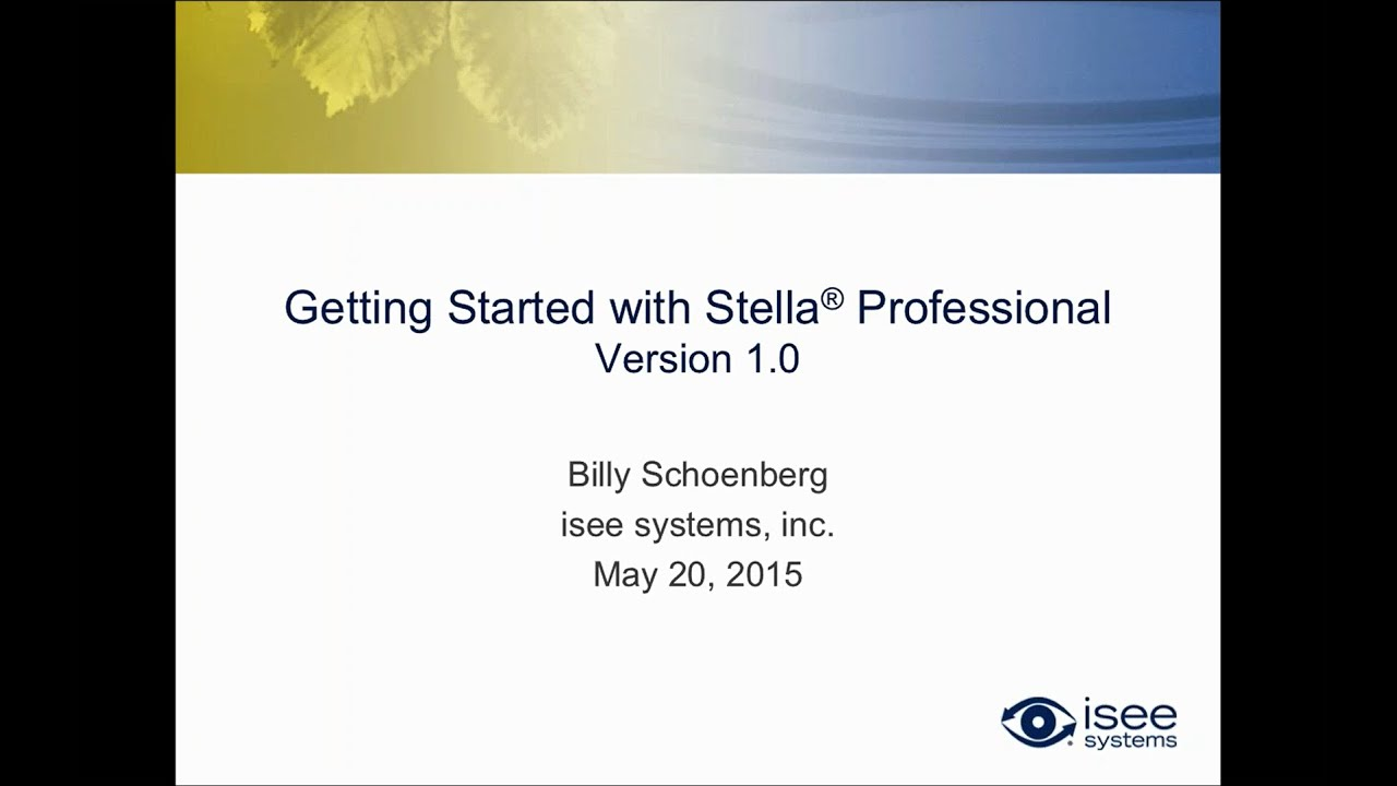 Getting Started with Stella Professional Version 1 0