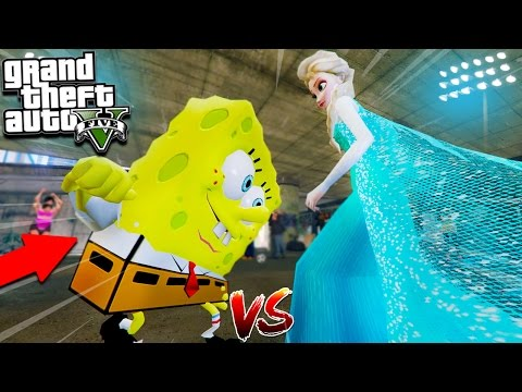 GTA 5 Mods Spongebob Fights Frozen Elsa! Power Rangers, Spiderman, Batman! (GTA 5 Mods)