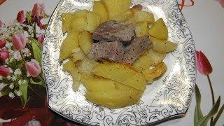 Запеченная картошка с мясом в рукаве