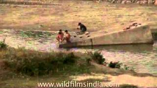 Assamese people washing their clothes