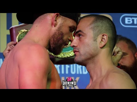 BILLY JOE SAUNDERS SMACKS SHEFAT ISUFI & GOES FOREHEAD-TO-FOREHEAD DURING FACE OFF @ WEIGH IN