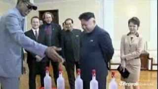 Repeat youtube video North Korea state TV shows Dennis Rodman meeting Kim Jong-un