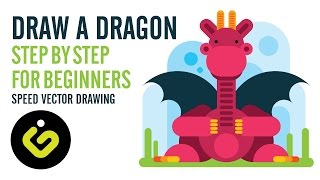 How To Draw A Dragon, Step by Step For Beginners, Speed Drawing Illustrator   Tutorial
