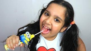 color minion lollipop mukbang