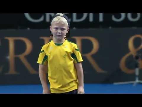 Cruz Hewitt Gets Roger Federer Warmed Up   Fast 4 Launch   Tennis Australia