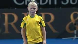 Cruz Hewitt Gets Roger Federer Warmed Up | Fast 4 Launch | Tennis Australia