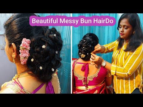 bun-hairstyle-tutorial/messy-bun/juda-hairstyle/low-messy-bun/wedding-updo/indian-bridal-buntutorial
