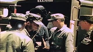United States General, Secretary of Army and officers welcome Prisoners of War at...HD Stock Footage