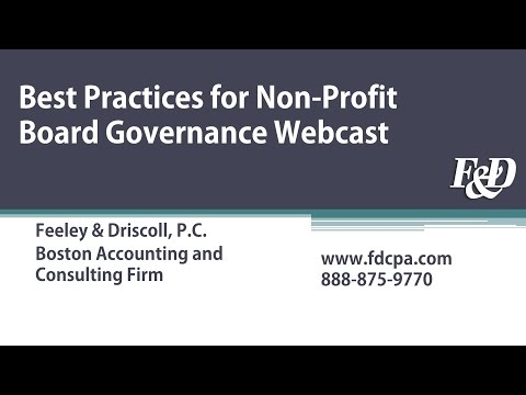 Best Practices for Non-profit Board Governance Webcast | Feeley & Driscoll, P.C.