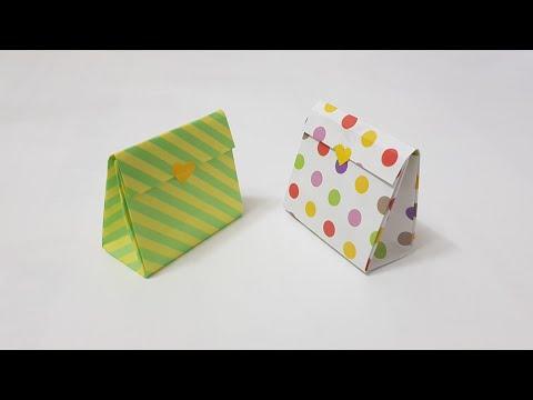 Cách gấp túi quà bằng giấy -làm túi quà giấy - gấp xếp giấy - how to make gift box | Foci