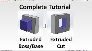 Solidworks tutorial | Beginners | How to use Extrude, Extrude cut and Thin feature