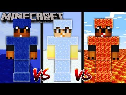 MINECRAFT   LAVA vs WATER vs ICE ARMOUR CHALLENGE!