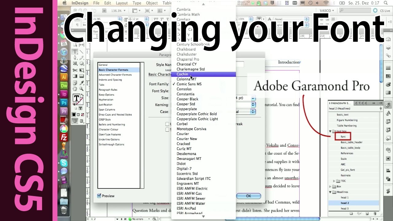 InDesign - Changing the font in Paragraph Styles (Part 15 ...