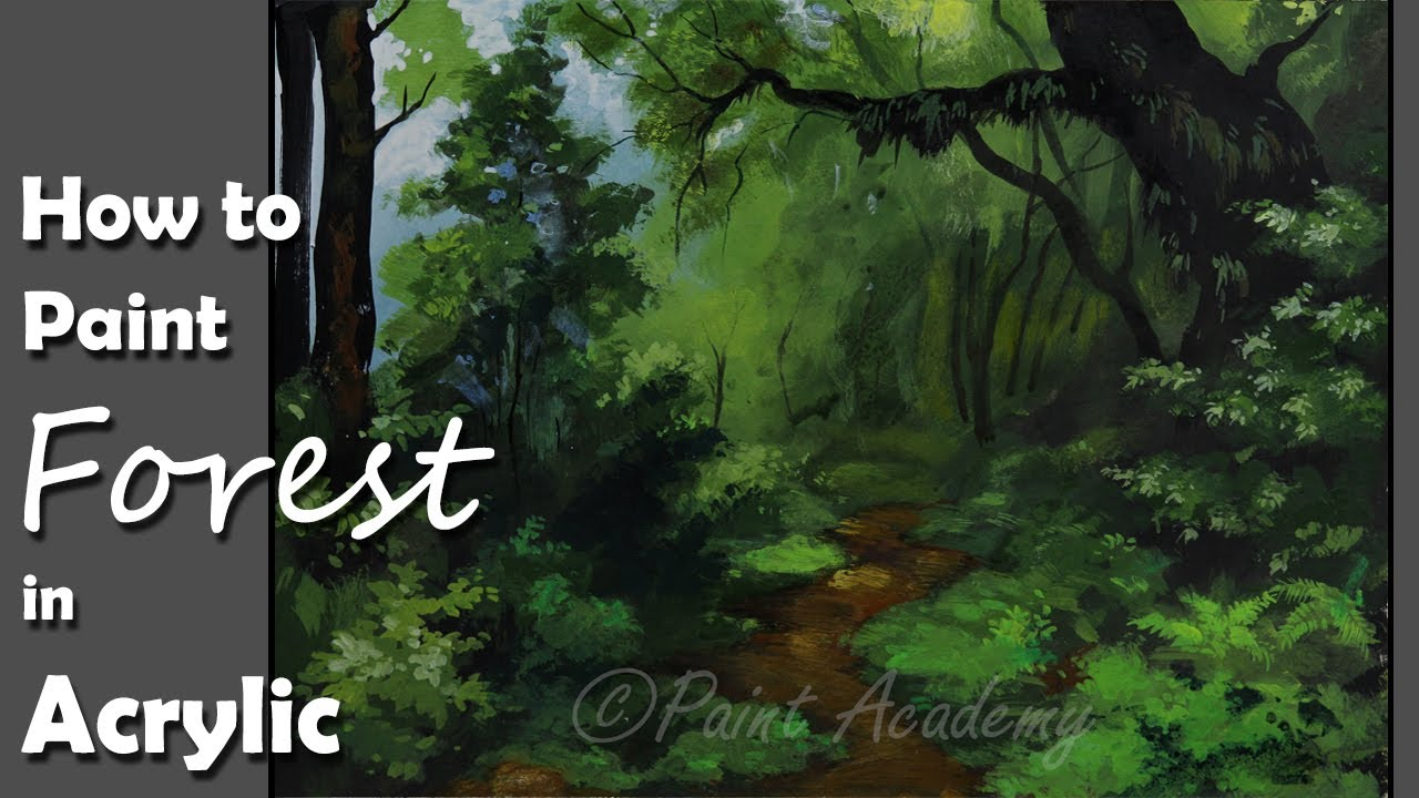 acrylic painting dense forest forest trees painting step by step youtube. Black Bedroom Furniture Sets. Home Design Ideas