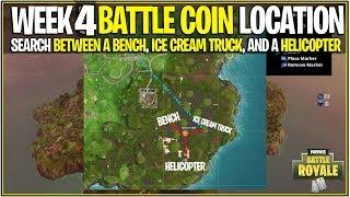 Fortnite : LEAKED WEEK 4 BATTLE PASS COIN LOCATION! (Bench, Camion de crème glacée, et hélicoptère)
