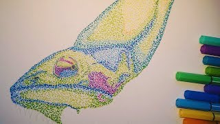 Timelapse: Drawing a Chameleon dot by dot! [Pointillism]