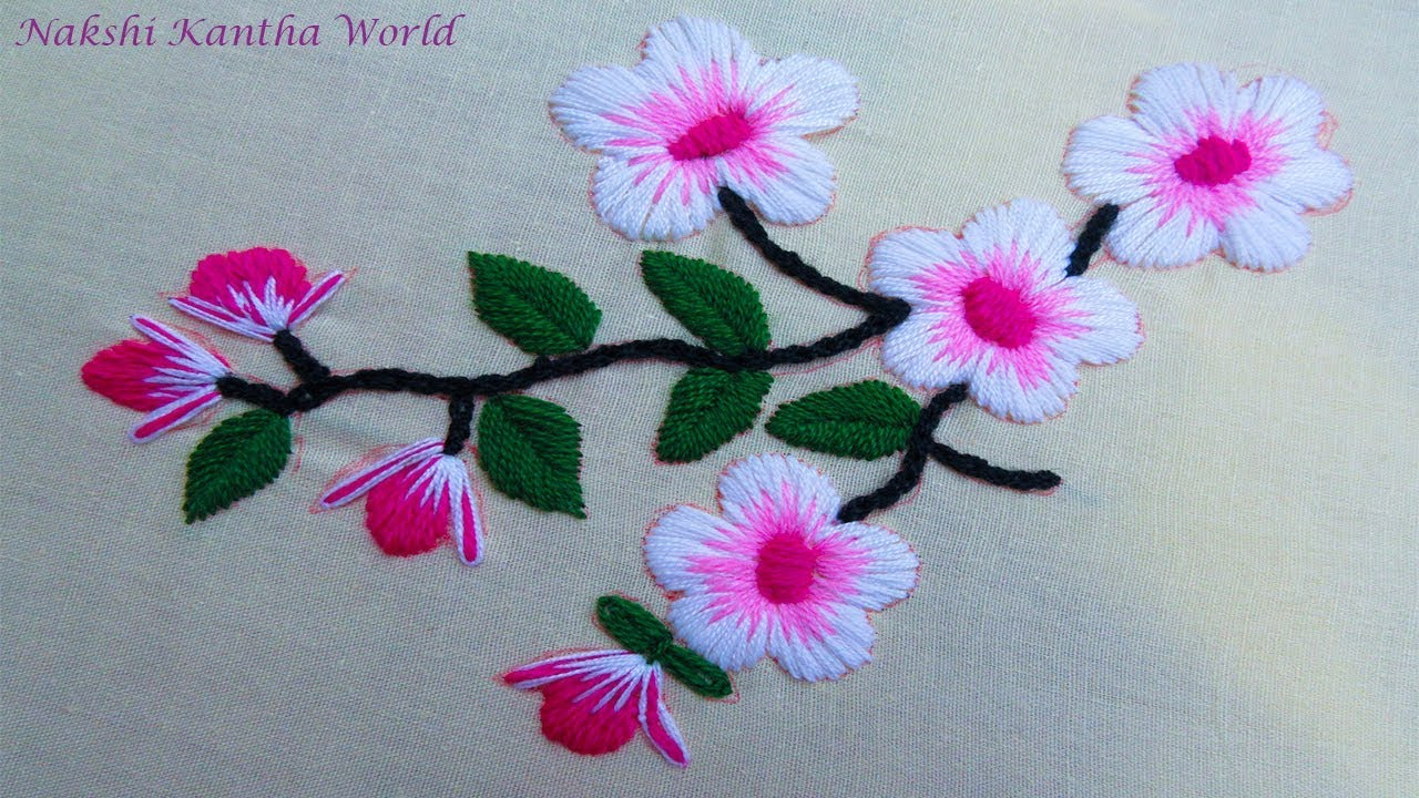 Hand Embroidery Flower Embroidery By Nakshi Kantha World Youtube