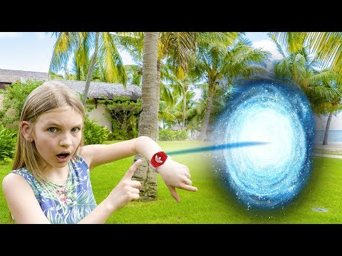 Amelia, Avelina and Akim win a free vacation trip! Magic portal adventure