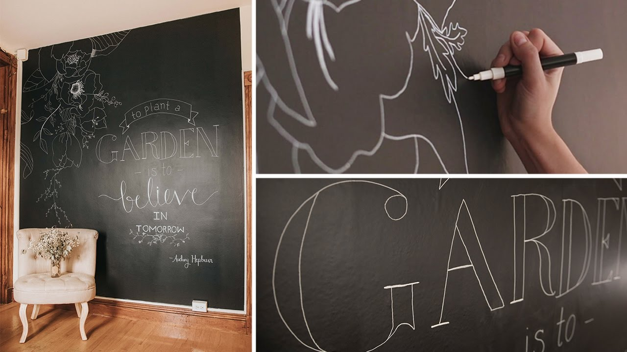 Chalkboard Wall Part - 24: How To: Temporary Chalkboard Wall U0026 Hand Lettered Quote