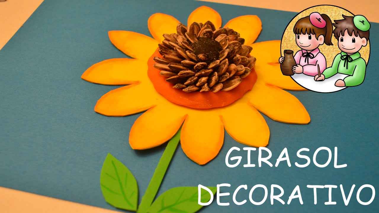 C mo hacer un girasol decorativo actividades manuales - Papel decorativo infantil ...