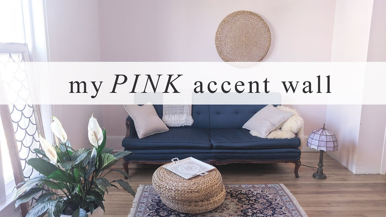 pink accent wall my living room makeover youtube