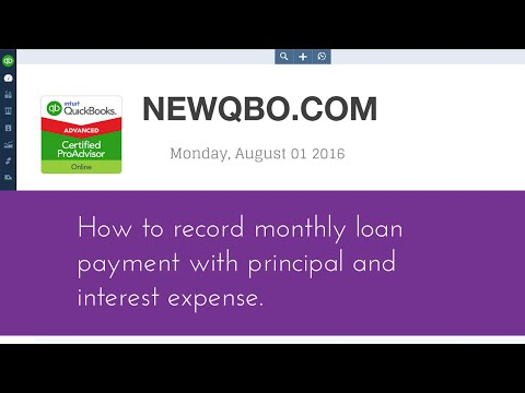 QuickBooks Online QBO - how to record monthly loan payment with principal and interest expense