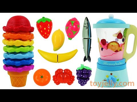 Learning Colors Best Baby Video Ice Cream Blender Wooden Velcro Fruits Toys Nursery Rhymes for Kids