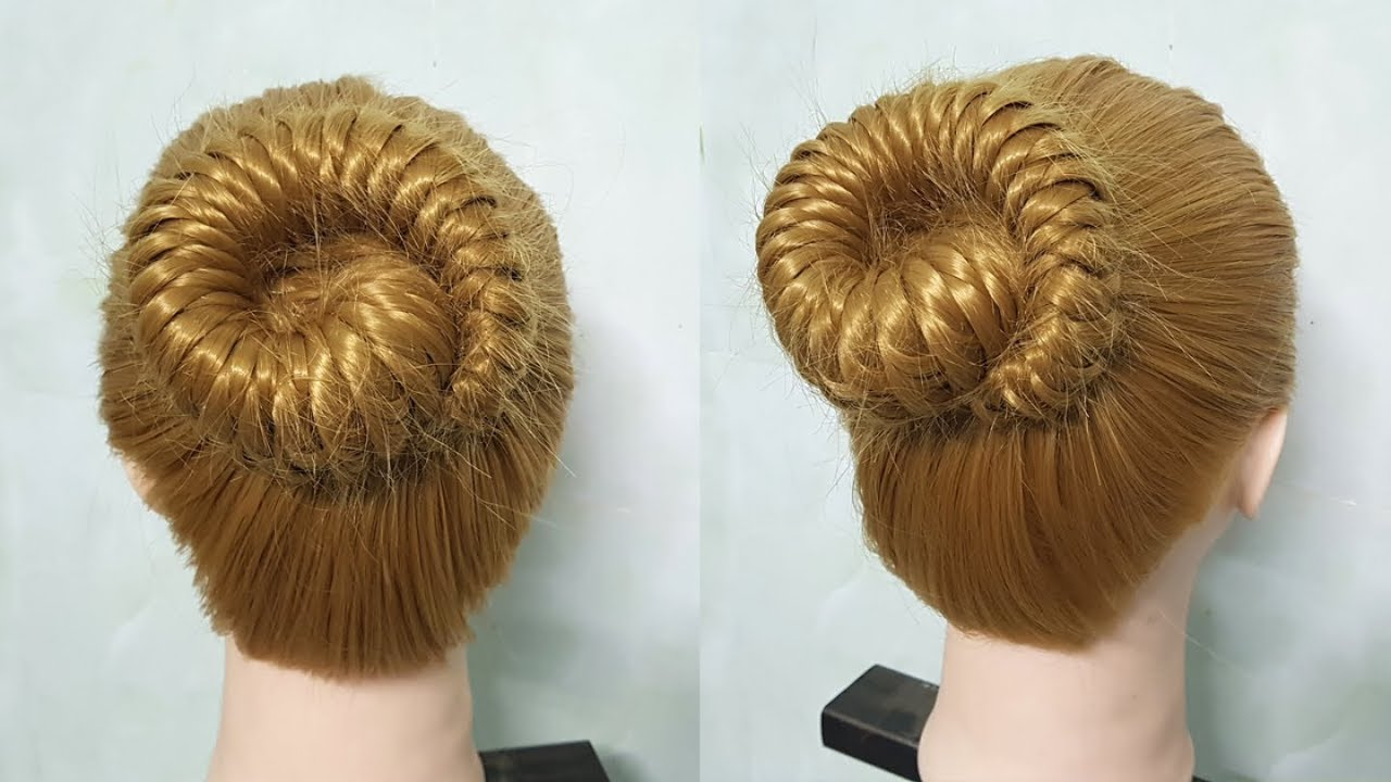 Comment faire un chignon sans donut 💗 How to make bun hairstyle without donut - YouTube