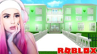 BUILDING A MANSION USING ONLY COLORS I HATE!... Roblox Bloxburg Mansion Challenge