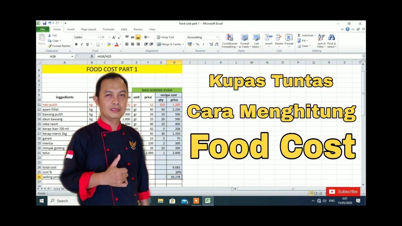 KUPAS TUNTAS CARA MENGHITUNG FOOD COST DI MS. EXCEL - YouTube