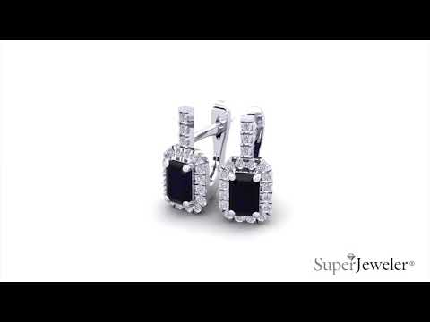 H051749 | Emerald Cut Sapphire and Halo Diamond Dangle Earrings In 14K White Gold